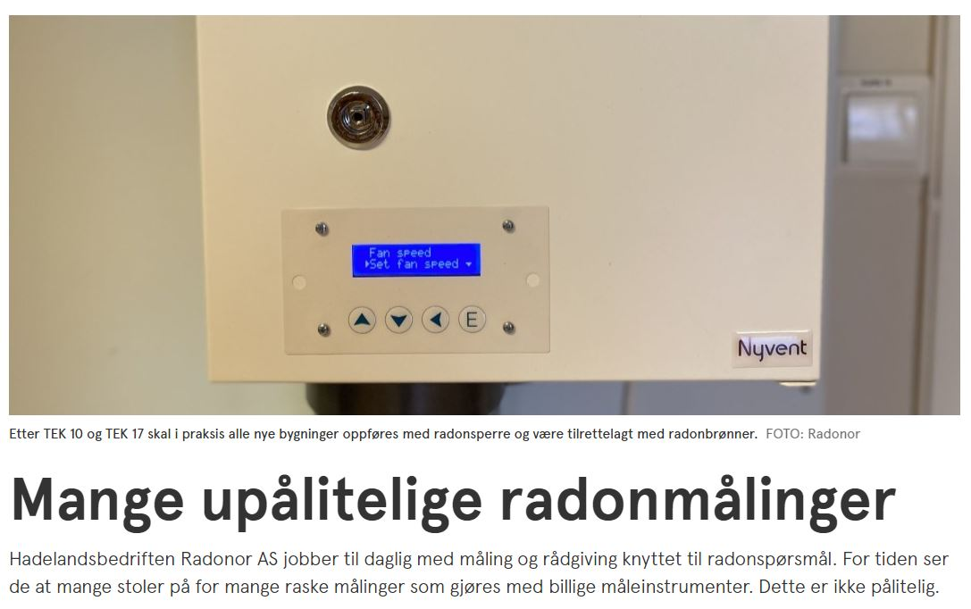 Upålitelige radonmålinger - artikkel